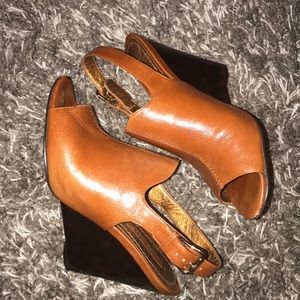 None West cognac leather with tortoise wedge heels